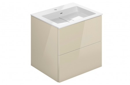 Mueble de baño suspendido Block Evo 719021003109109 de 2 cajones lacado crema light brillo y lavabo