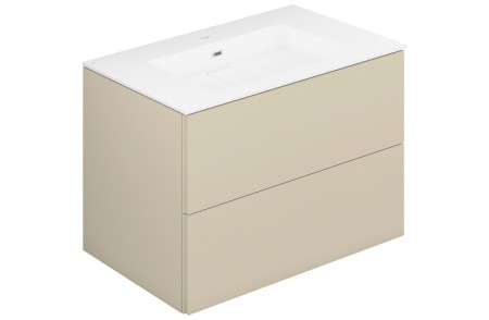Mueble de baño suspendido Block Evo 719011403110110 de 2 cajones lacado crema light mate y lavabo
