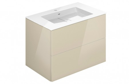 Mueble de baño suspendido Block Evo 719021403109109 de 2 cajones lacado crema light brillo y lavabo