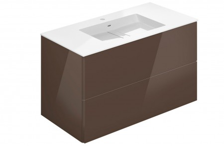 Mueble de baño suspendido Block Evo 719021803113113 de 2 cajones lacado chocolate brillo con lavabo
