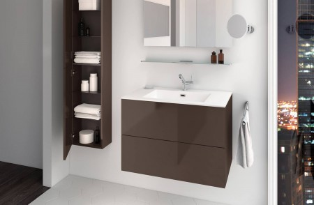 Mueble de baño suspendido Block Evo 719021403113113 de 2 cajones lacado chocolate brillo con lavabo