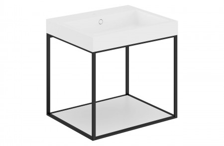 Mueble de baño suspendido The Grid Evo negro 768201019036102 con balda fija lacado blanco mate y lavabo rectangular