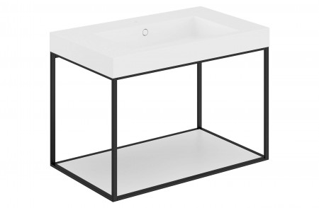 Mueble de baño suspendido The Grid Evo negro 768201419036102 con balda fija lacado blanco mate y lavabo rectangular